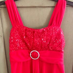 Other - Girls red hi-low dress with sequin bodice